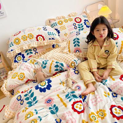 2020新款-高克重牛奶绒韩版ins风保暖印花四件套 1.5m床单款四件套 花棉白