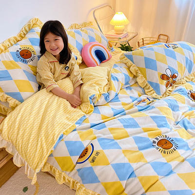 2020新款-高克重牛奶绒韩版ins风保暖印花四件套 1.5m床单款四件套 彩虹岛黄