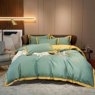 2020秋冬新款100支长绒棉贡缎刺绣四件套简系列—实拍图 1.5m床单款四件套 松绿-金黄色