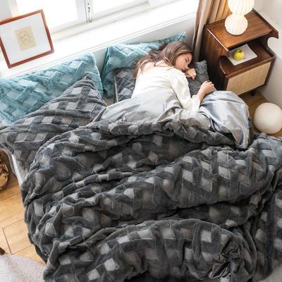 2020秋冬新品立体兔兔绒宝宝绒四件套 1.5m床单款四件套 深灰色