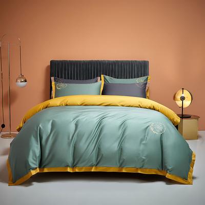 2020秋冬新款100支长绒棉贡缎刺绣四件套简系列—棚拍图 1.5m床单款四件套 松绿-金黄色