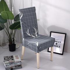 新款万能弹力紧包家用连体酒店餐椅套 北欧鹿角