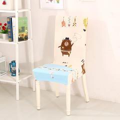 新款万能弹力紧包家用连体酒店餐椅套 加勒比小熊