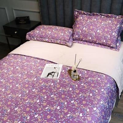 2020新款天丝绸夏被四件套 200*230cm夏被四件套 繁华紫
