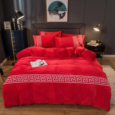 2020新款毛巾绣水晶绒四件套 1.8m床单款四件套 大红色