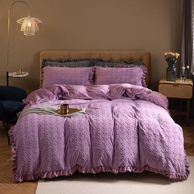 2020新款-千鸟格纯色压花四件套 1.8m床单款四件套 千鸟格紫色