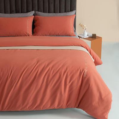 2021新款全棉磨毛拼色四件套 1.8m床单款四件套 爱玛橙