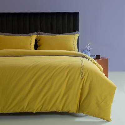 2021新款全棉磨毛拼色四件套 1.8m床单款四件套 嫩黄