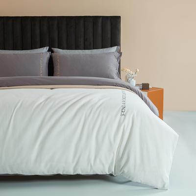 2021新款全棉磨毛拼色四件套 1.8m床单款四件套 高级白灰