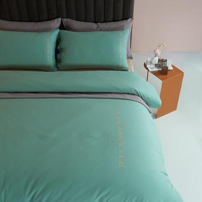 2021新款全棉磨毛拼色四件套 1.8m床单款四件套 水绿