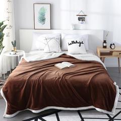 2018新款-新款羊羔绒法莱绒毛毯被 100cm×150cm 褐色