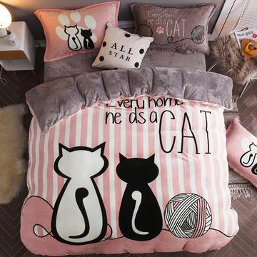 2018新款-凯儿家纺大版平网法莱绒四件套床单、床笠款 1.2m(4英尺)床 情侣猫