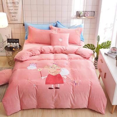 宝宝绒贴布绣四件套-小猪佩奇 1.2m 床(三件套) 粉