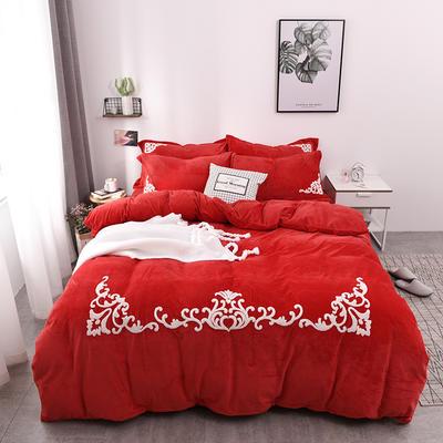 水晶绒毛巾绣四件套-格韵 1.5m/1.8m 床 大红