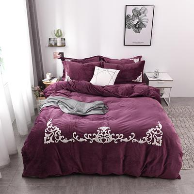 水晶绒毛巾绣四件套-格韵 1.5m/1.8m 床 紫色