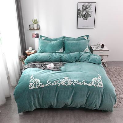 水晶绒毛巾绣四件套-格韵 1.5m/1.8m 床 绿色