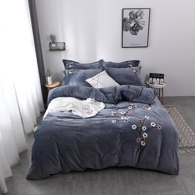 水晶绒毛巾绣四件套-梅飞舞 1.5m/1.8m 床 灰色