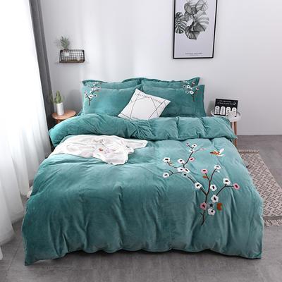 水晶绒毛巾绣四件套-梅飞舞 1.5m/1.8m 床 绿色