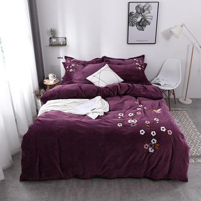 水晶绒毛巾绣四件套-梅飞舞 1.5m/1.8m 床 紫色