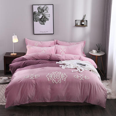 水晶绒毛巾绣四件套-欧式风情 1.5m/1.8m 床 紫色