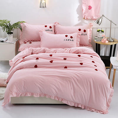 2018新款宝宝绒加厚工艺款四件套保暖套件 1.8m(6英尺)床 草莓甜心-粉色
