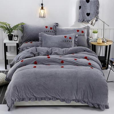 2018新款宝宝绒加厚工艺款四件套保暖套件 1.8m(6英尺)床 草莓甜心-灰色