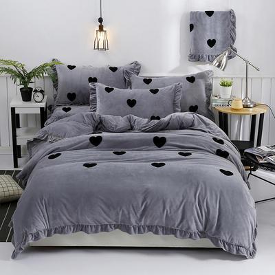 2018新款宝宝绒加厚工艺款四件套保暖套件 1.8m(6英尺)床 心语-灰色