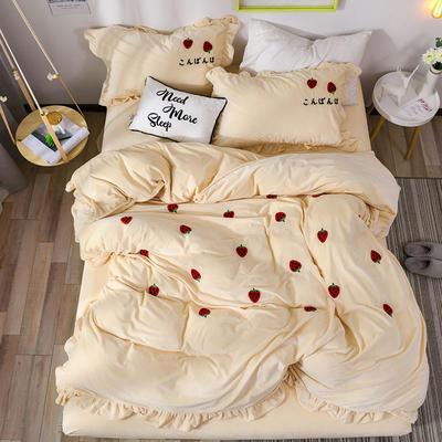 2018新款宝宝绒加厚工艺款四件套保暖套件 1.5m(5英尺)床 草莓甜心-米白