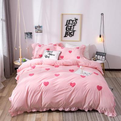 2018新款宝宝绒加厚工艺款四件套保暖套件 1.8m(6英尺)床 心语-粉色