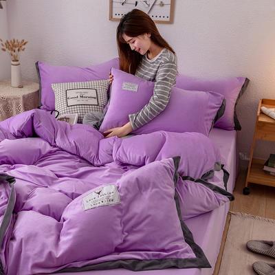 2019新款简约拼色水晶绒保暖四件套 1.2m(4英尺)床(床单款) 雪青