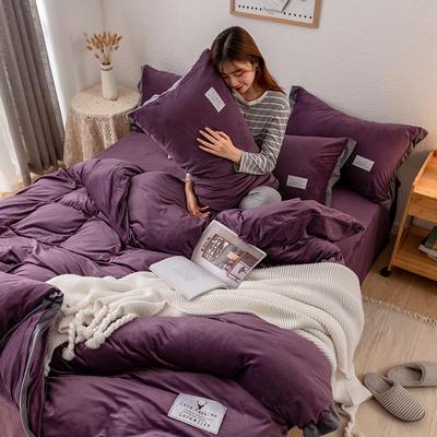 2019新款简约拼色水晶绒保暖四件套 1.2m(4英尺)床(床单款) 深紫