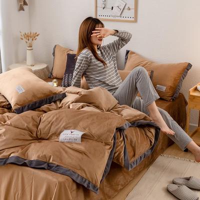 2019新款简约拼色水晶绒保暖四件套 1.2m(4英尺)床(床单款) 深咖