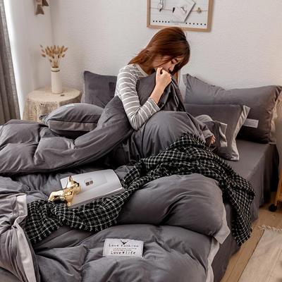 2019新款简约拼色水晶绒保暖四件套 1.2m(4英尺)床(床单款) 深灰