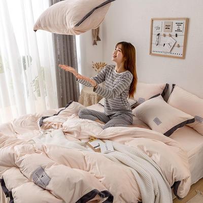 2019新款简约拼色水晶绒保暖四件套 1.2m(4英尺)床(床单款) 浅玉