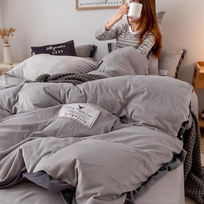 2019新款简约拼色水晶绒保暖四件套 1.2m(4英尺)床(床单款) 浅灰