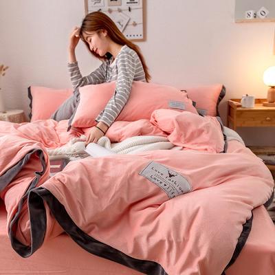 2019新款简约拼色水晶绒保暖四件套 1.2m(4英尺)床(床单款) 粉玉
