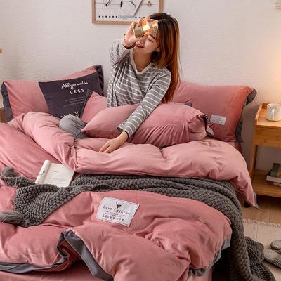 2019新款简约拼色水晶绒保暖四件套 1.2m(4英尺)床(床单款) 豆沙
