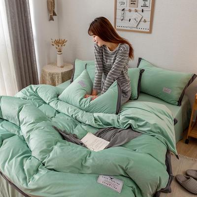 2019新款简约拼色水晶绒保暖四件套 1.2m(4英尺)床(床单款) 豆绿