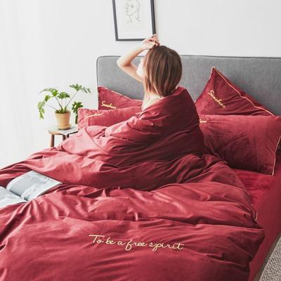 2019新款-丽丝绒刺绣四件套 1.5m-1.8m床(床单款) 红