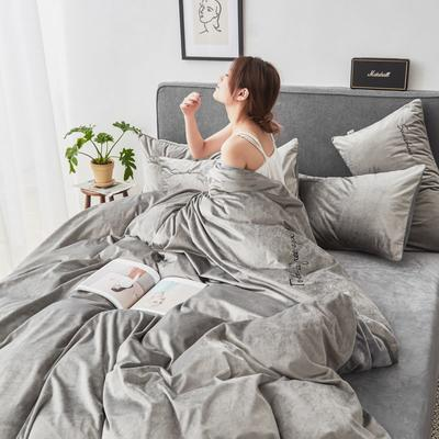 2019新款-丽丝绒刺绣四件套 1.5m-1.8m床(床单款) 灰
