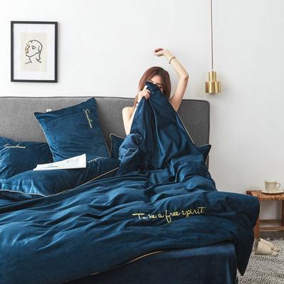 2019新款-丽丝绒刺绣四件套 1.5m-1.8m床(床单款) 蓝