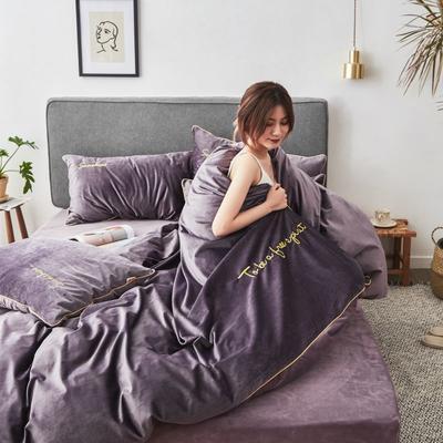 2019新款-丽丝绒刺绣四件套 1.5m-1.8m床(床单款) 紫