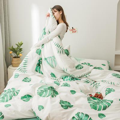 2020新款全棉印花小清新四件套套件 1.5m床单款四件套 芭蕉叶