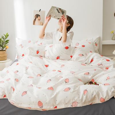 2020新款全棉印花小清新四件套套件 1.5m床单款四件套 简约草莓