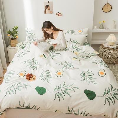 2020新款全棉印花小清新四件套套件 1.5m床单款四件套 柳叶花