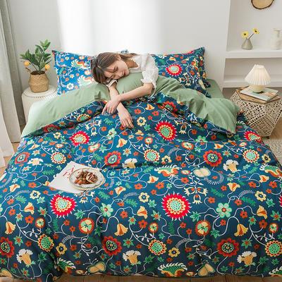 2020新款全棉印花小清新四件套套件 1.5m床单款四件套 向日葵