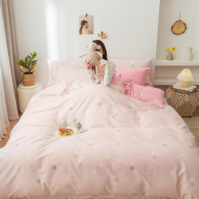 2020新款全棉印花小清新四件套套件 1.5m床单款四件套 小兔子