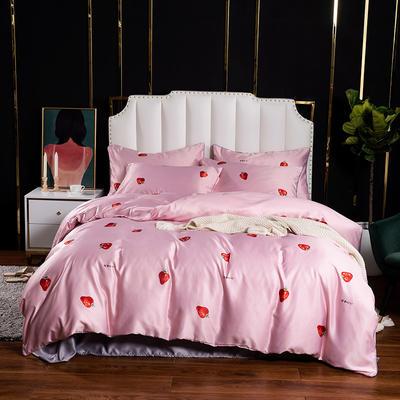 2020水洗真丝印花四件套-拍摄风格1 1.2m床单款三件套 草莓甜心