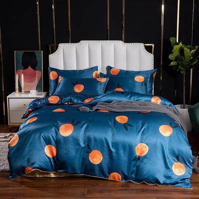 2020水洗真丝印花四件套-拍摄风格1 1.2m床单款三件套 小橘子