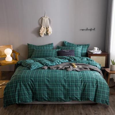 2020文艺风格子系列全棉四件套 1.2m床单款三件套 湖绿小格
